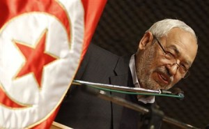 Rached Ghannouchi, leader of the Islamist Ennahda movement, Tunisia's main Islamist political party, delivers a speech during a meeting regarding International Women's Day in Tunis