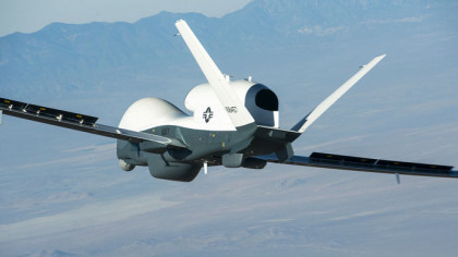 Handout of the Triton unmanned aircraft system completing its first flight from Northrop Grumman manufacturing facility in Palmdale